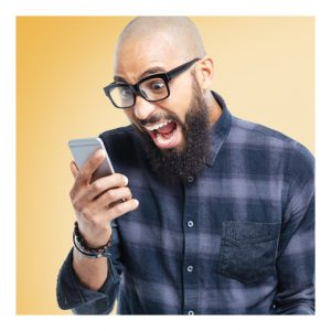 man excited with phone